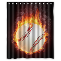 Baseball On Fire #01 Shower Curtain Waterproof Made From Polyester - $29.07 - $48.30