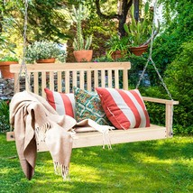4' Wood Garden Hanging Seat Chains Porch Swing - $131.92