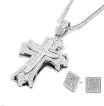 Mens Large Thick Cross Silver Iced Out Pendant 36 Inch Necklace Franco C... - $28.71