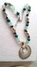 Handmade Light Green and Silver Beaded Necklace with Pendant - $6.95