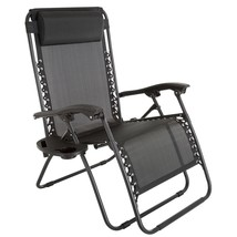 Black Patio Lawn Chair Over Sized With Head Rest Reclining Foldable Seat... - $103.24