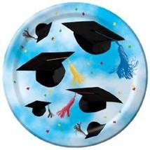 "Cap Toss Graduation Party Blue 8 ct  7"" Dessert Plates - £2.15 GBP"