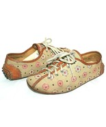 ❤️ The Original Car Shoe Italia Floreale Tela Pelle Allacciate Oxford 6 ... - $35.24