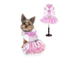 Soft Pink & White Cowgirl Dog Costume Vest Skirt Bandana Set Heart Shape... - $40.00+