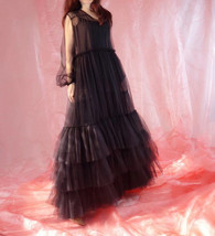 Women Black Maxi Dress Gown Long Sleeve Loose Tiered Tulle Party Dress Plus Size image 5