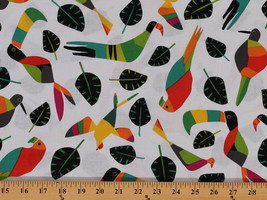 Cotton Rio Toucan Birds Leaves Cotton Fabric Print By the Yard D575.60 - $11.95