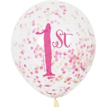 "1st Birthday Pink Gold Girls 6 Ct 12"" Balloons with Confetti - $4.99"