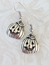 Halloween Jack o Lantern Pumpkin Tibetan Silver Dangle Earrings  - $6.25