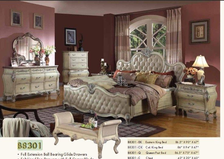 Mcferran RB8301 Bonded Leather Queen Size Bedroom set 5.pc Traditional Style