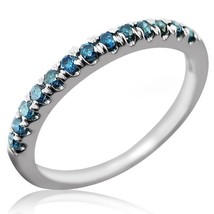 Fancy Blue Diamond Wedding Anniversary Band Ring 10k White Gold - £142.24 GBP