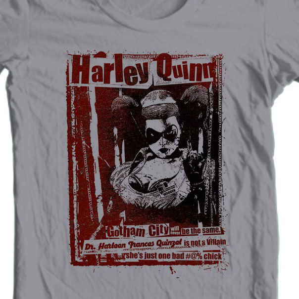 Harley Quinn T-shirt DC comic book Bat-Man Joker 100% cotton graphic tee BM2264