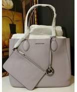 NWT MICHAEL KORS Mae Soft Leather Large East West Carryall Tote Lilac/Si... - $236.55