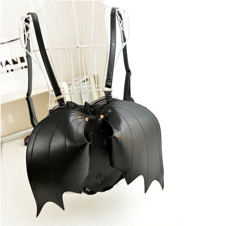 Halloween Devil Bat Wings Heart-shaped Shoulder Bag Personalized Backpack Handba image 3