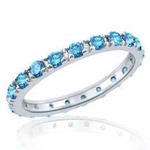 Charming 1 Carat Fancy Blue Diamond Eternity Wedding Band Ring 14k White... - £473.80 GBP