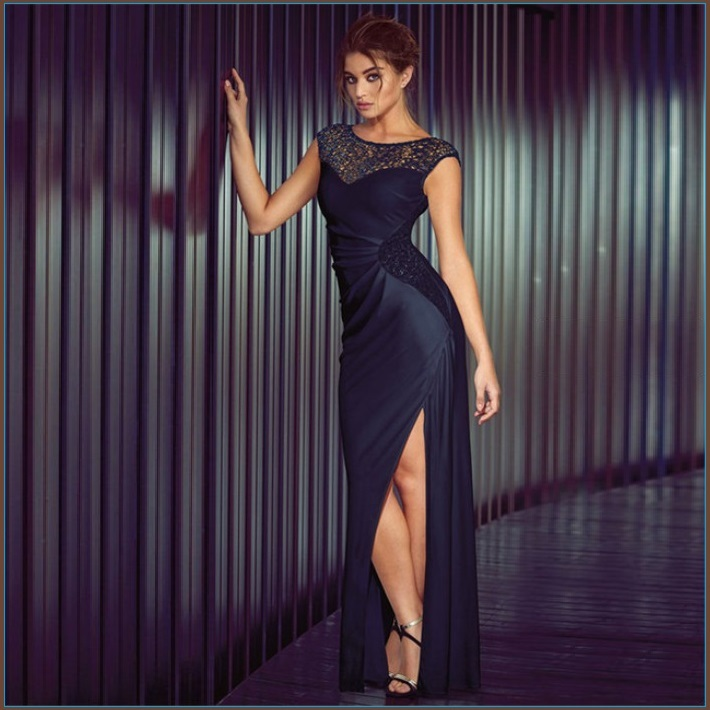 Formal Navy Blue Sequin Long Sleeveless Celebrity Side Slit Party Evening Gown