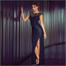 Formal Navy Blue Sequin Long Sleeveless Celebrity Side Slit Party Evening Gown - $108.95