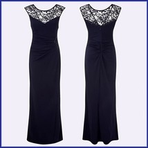 Formal Navy Blue Sequin Long Sleeveless Celebrity Side Slit Party Evening Gown image 2