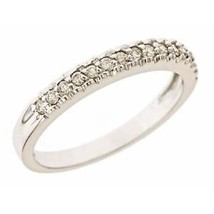 0.25ct F-VS 15 Stone Pave Set Diamond Wedding Anniversary Band 14k White Gold - $444.51