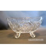 Oval 4-Legged Lead Crystal Cut-Glass Bowl Small Dish Pinwheel Design - $6.00