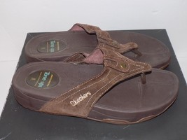 SKECHERS TONE-UPS BROWN SUEDE LEATHER SANDALS S... - $10.50