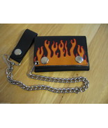 BIKER LEATHER  WALLET WITH Firefighter Flames - with CHAIN AND LOOP - $10.84