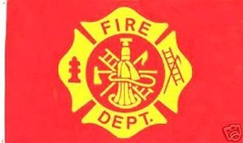 FIRE DEPARTMENT FLAG 3'  X 5'   Fire Department large Maltese Cross FLAG - $5.89