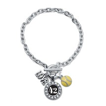 Inspired Silver My Sports Number Circle Charm Softball Toggle Charm Brac... - $11.75