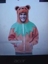 Adult Grateful Dead Dancing Bear Hoodie ORANGE Deadhead Costume fnt - $26.89