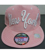 NY Baseball Cap XL Pink White Pin Striped NWT City Hunter - $11.99