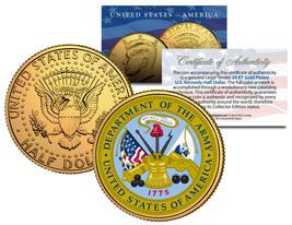 United States ARMY * Emblem * 24K Gold Plated JFK Half Dollar U.S. Coin ... - $8.95