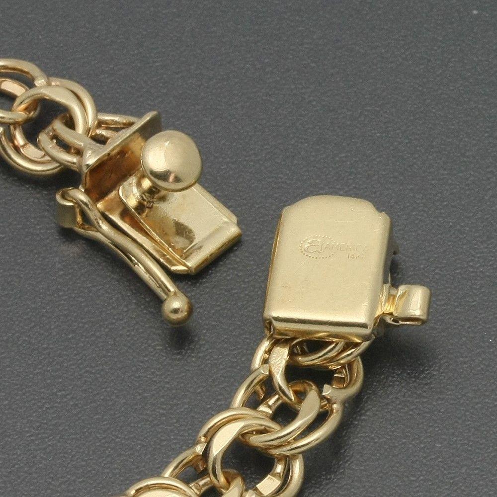 """Vintage 14k Gold Charm Bracelet: Vintage 7"""" 14K Solid Gold 7mm Double Figure 8 Link Starter"""