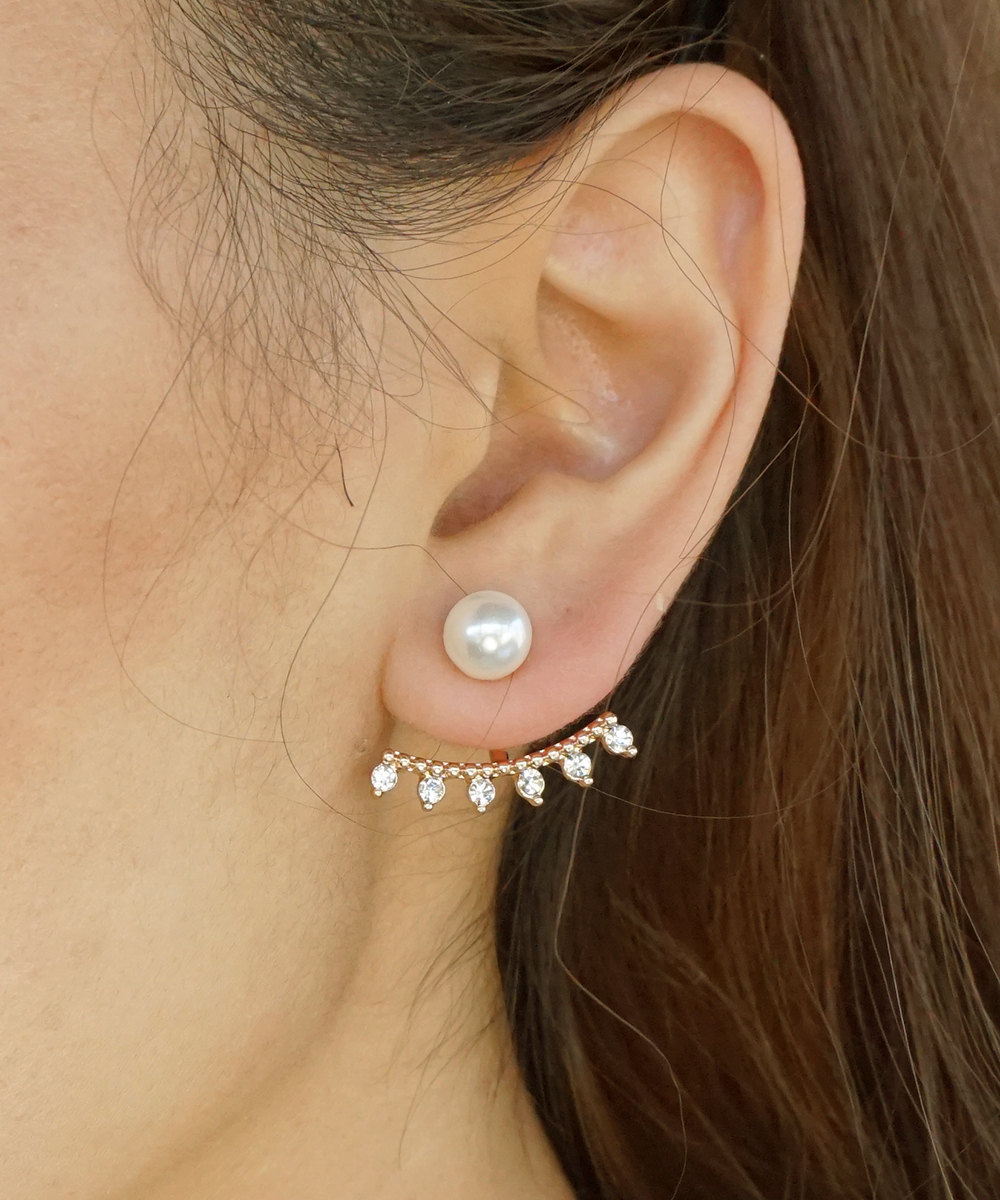 Primary image for Pearl and Crystal SET OF 3 Interchangeable Mix and Match Pave Ball Ear Jackets E