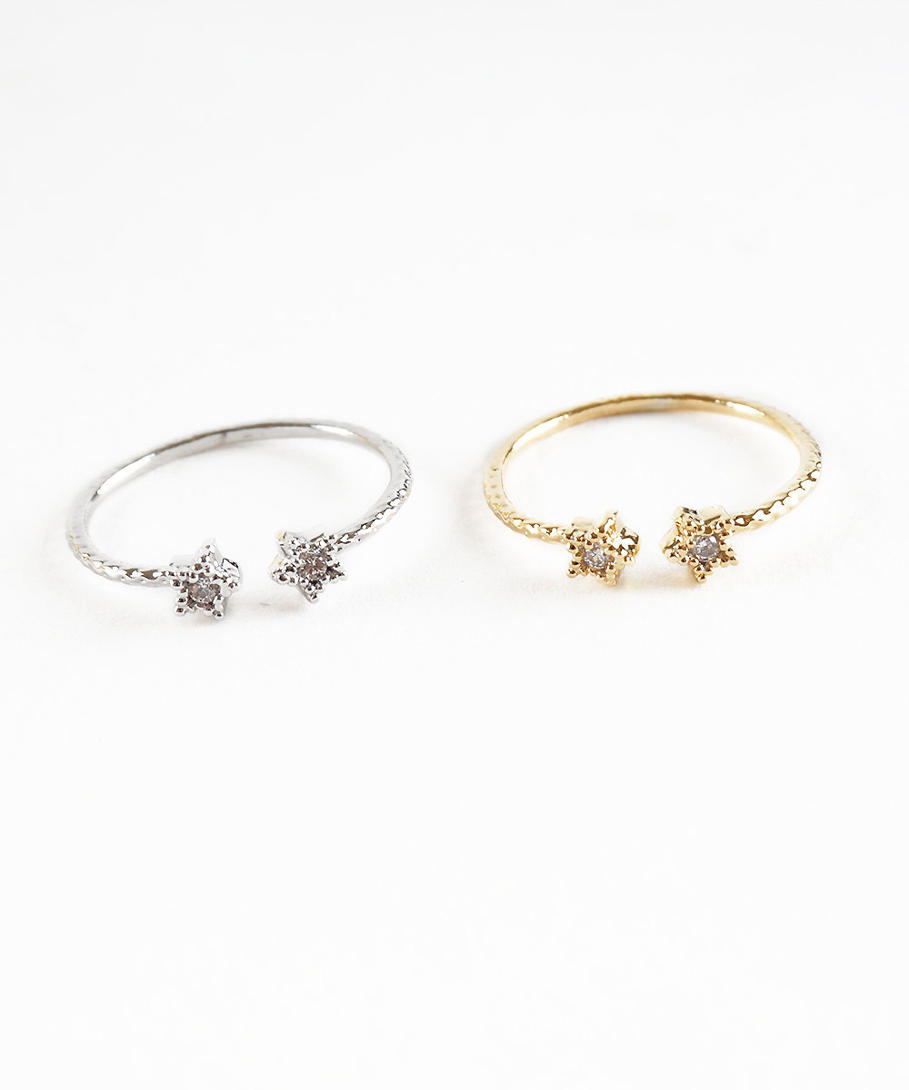 Primary image for Double Stars Mini Crystals Midi Knuckle Ring Silver or Gold Tone