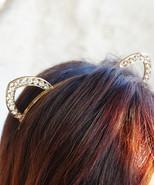 Crystal Cat Ears, Jewel Cat Ears, Gold Cat Ears, Cat Ears Headband, New ... - $18.60