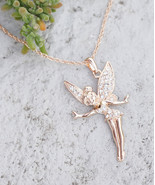 Tinkerbell Necklace Fairy Charm Pendant Necklace In Silver Or Gold Tone ... - $18.00