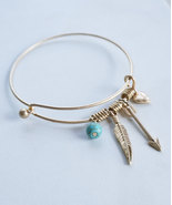 Hearts and Arrows Adjustable Gold or Silver Bangle Charm Friendship Brac... - $15.00