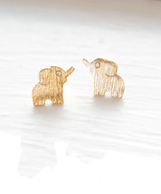 Elephant Earrings, Little Elephant Stud Earrings, Cute Elephant Studs, Gold Elep - $10.20