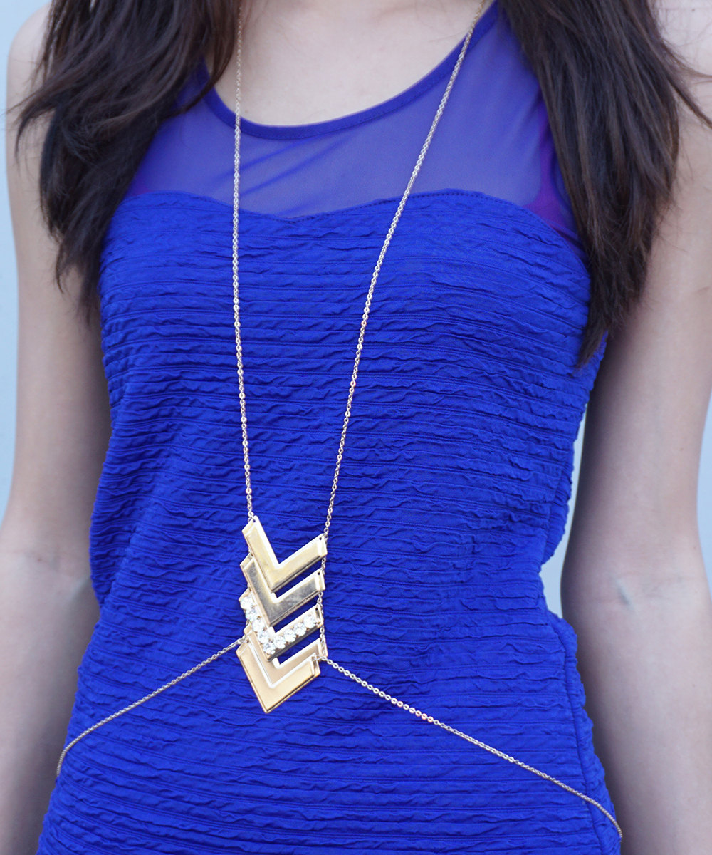 Gold Tone Chevron Body Chain with Embellished Crystals - $14.00