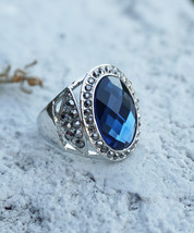 Holiday Clearance Sale! Silver Finish Blue Stone Women's Elegant Jewelry Ring - $14.95