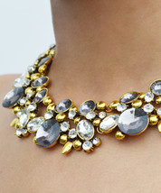 Gold Plated Duchess Gunmetal & Gold Rhinestone Collar Statement Necklace - $25.00