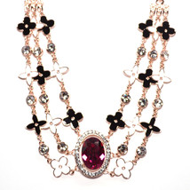 Single Red Gemstone Black & White Flower Choker Necklace on Rose Gold Pl... - $25.00