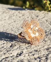 Women's Beautiful Net Rose Gold Plated Genuine Fashion Flower Ring - $16.00