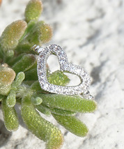Silver Plated Swarovski Element Crystal Midi Heart Cut Out Fashion Ring - $16.00