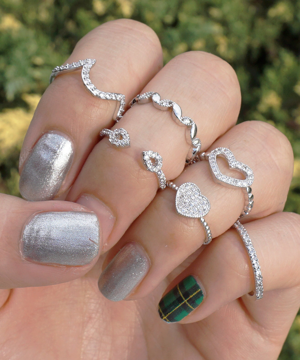 Silver Plated Swarovski Element Crystal Midi Heart Cut Out Fashion Ring image 2