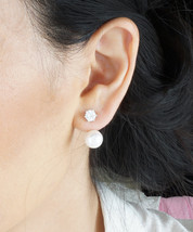Simple Everyday Crystal and Pearl Front Back Ear Jacket Earrings - $28.00