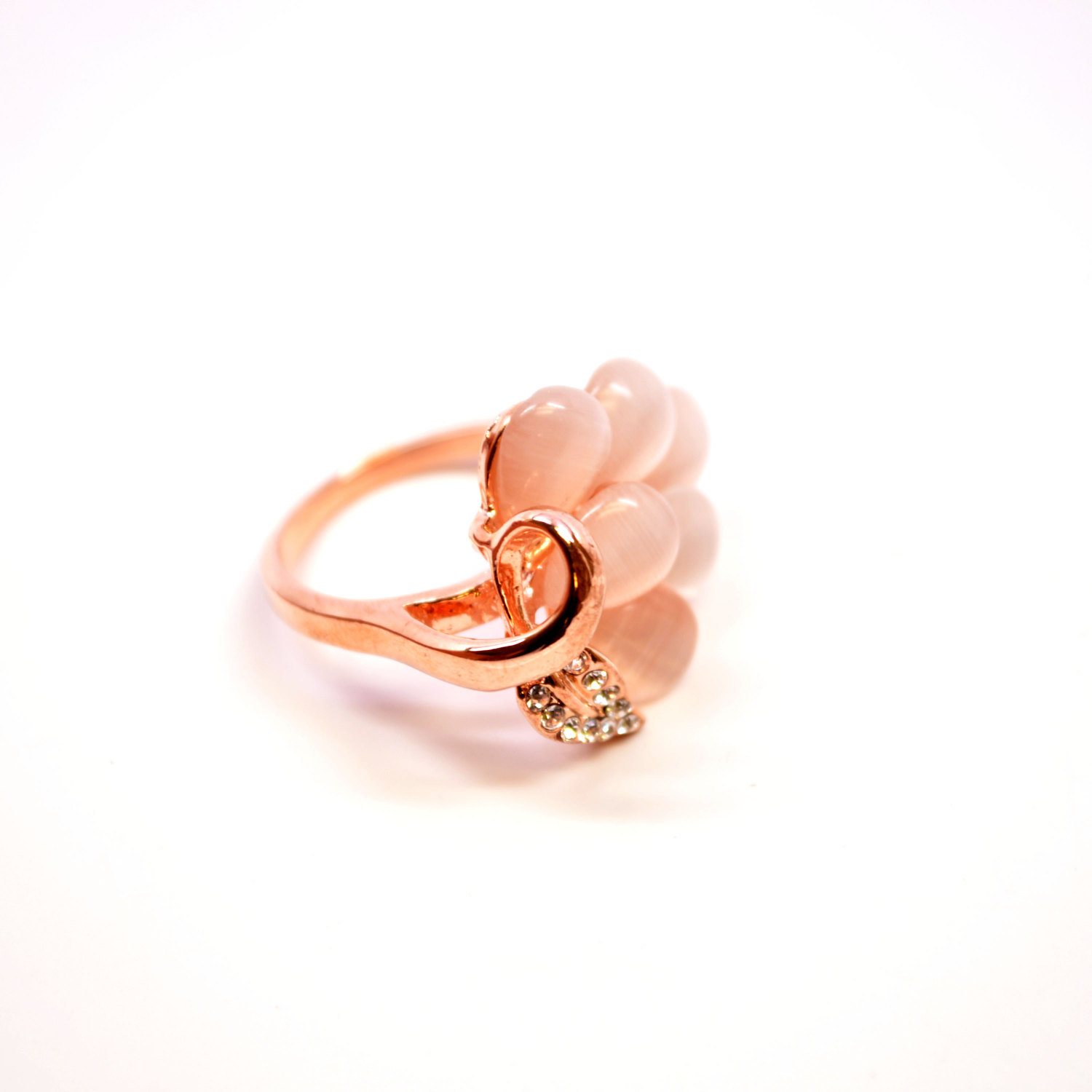 Grape Inspired Fashion Ring With Moonstone And Swarovski Crystal On Rose Gold Pl image 4