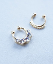 Silver or Gold Simple Bubbles Crystal Boho Faux Fake Septum Clip-On Nose Ring SE - $16.00