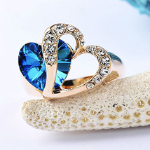 Two Hearts as One Ocean Blue Stone in Gold Plated Ring with Pave Vegan Crystals - $20.00