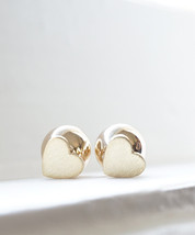 Heart and Ball Double Sided Silver or Gold Two Ways Studs Earrings - $12.80