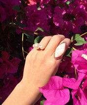 18k Rose Gold Plated Mother of Pearl Iridescent Statement Split Shank Cocktail R - $14.00